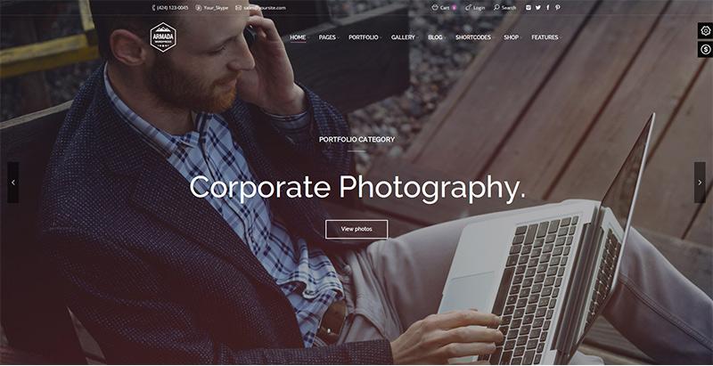 Armada themes wordpress creer site web photographe illustrateur designer