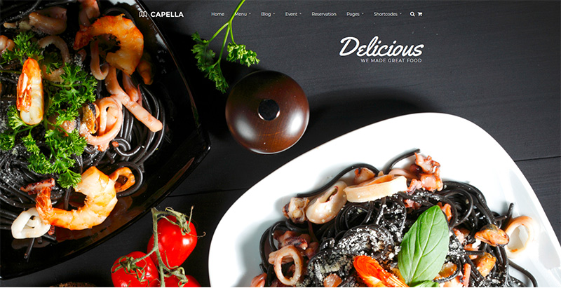 Capella themes wordpress creer site internet restaurant bistrot