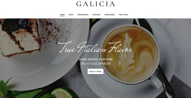 Galicia themes wordpress creer site internet restaurant salon cafe