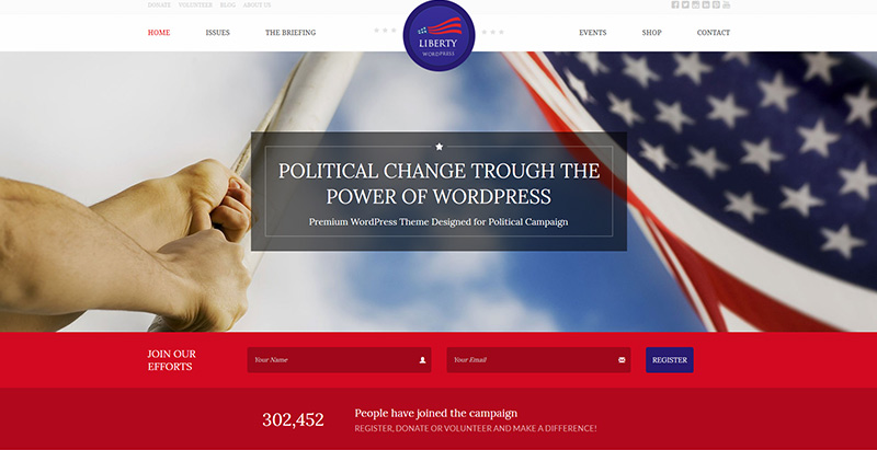 Home liberty themes wordpress creer site internet parti politique