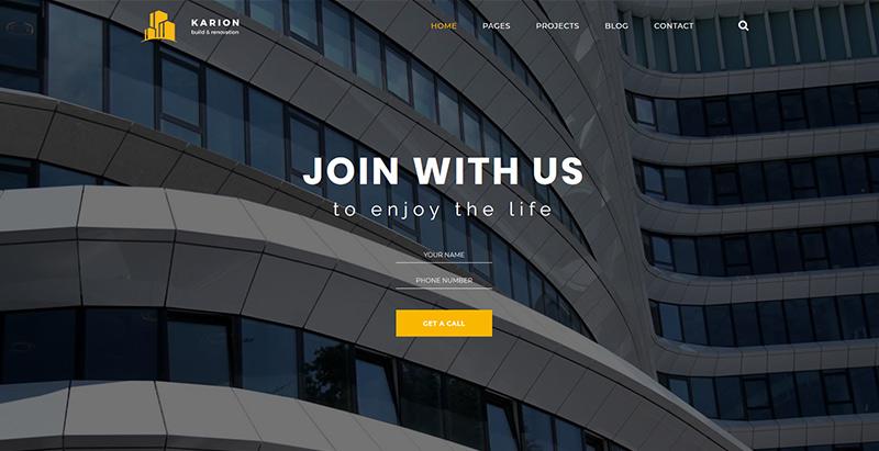Karion themes wordpress creer site web entreprise construction architecture