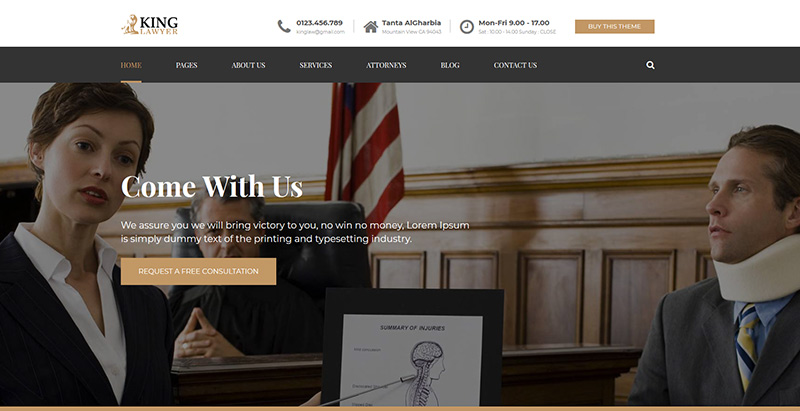 Kinglawthemes wordpress creer site internet avocat procureur notaire