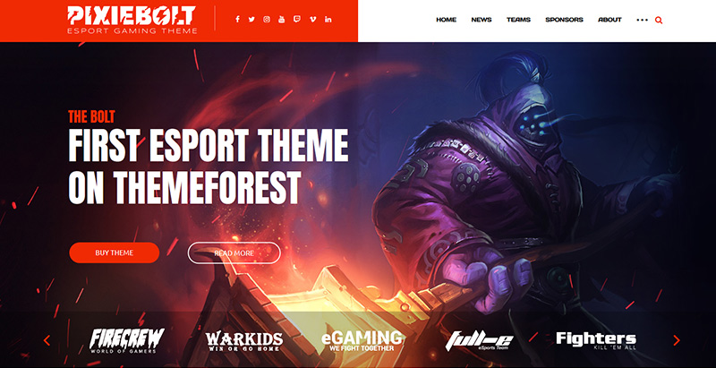 Pixiebolt themes wordpress creer site internet esport jeux videos
