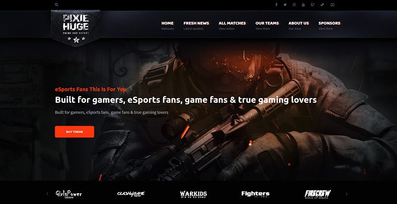 Pixiehuge themes wordpress creer site internet esport jeux videos
