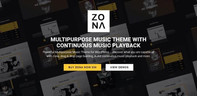 Zona themes wordpress creer site web divertissement musique
