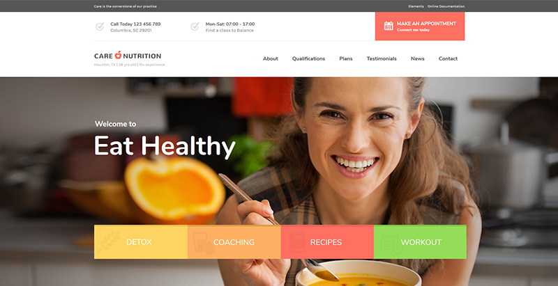 Care themes wordpress creer site internet nutritionniste dieteticien