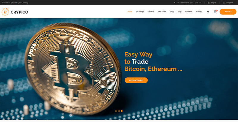 Crypico themes wordpress creer site internet entreprise crypto monnaies devises