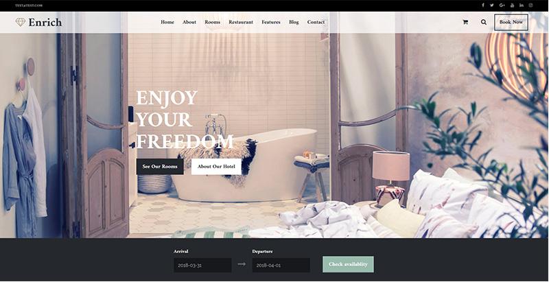Enrich themes wordpress premium creer site web hotel motel
