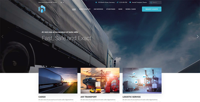 Handel themes wordpress creer site web agence entreprise transports