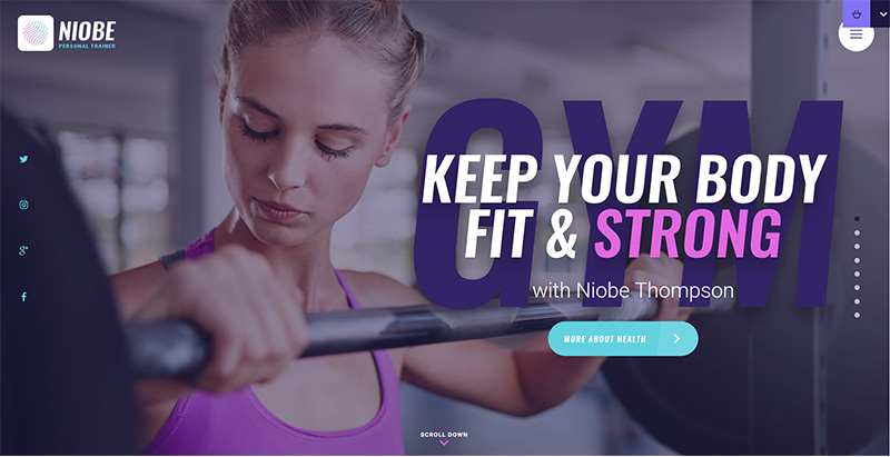 Niobe themes wordpress creer site web clubs gym fitness coach