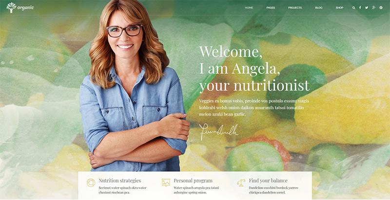 Organic themes wordpress creer site internet nutritionniste dieteticien