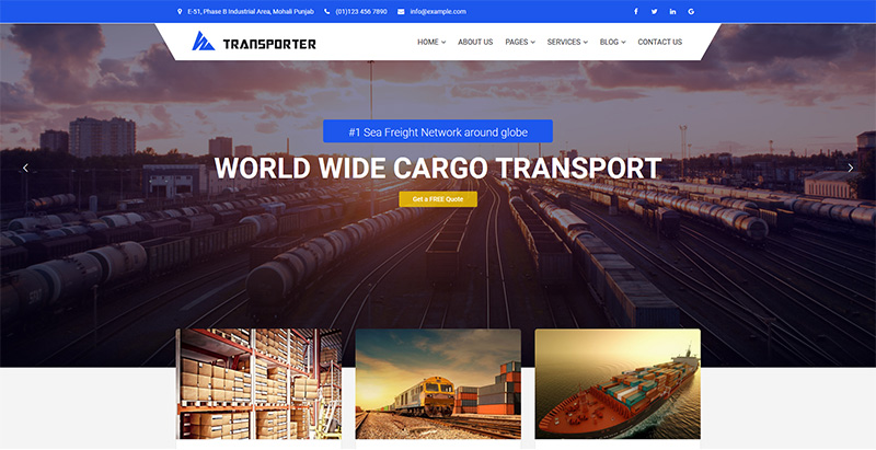 Transporter themes wordpress creer site web agence entreprise transports