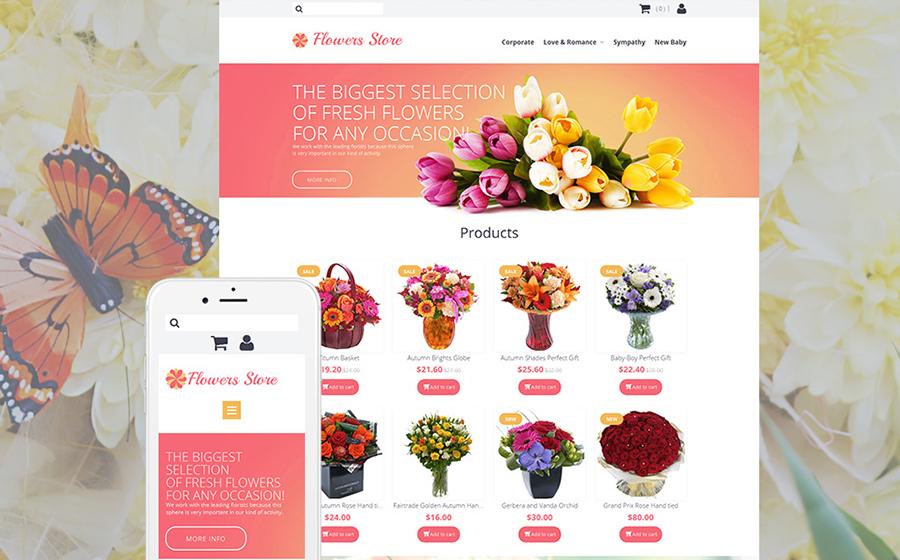 Modèle MotoCMS Ecommerce adaptatif pour magasin de fleurs