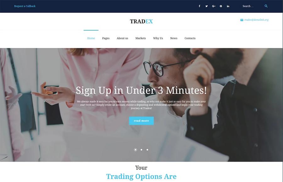 Tradex - WordPress Forex Trading Tema