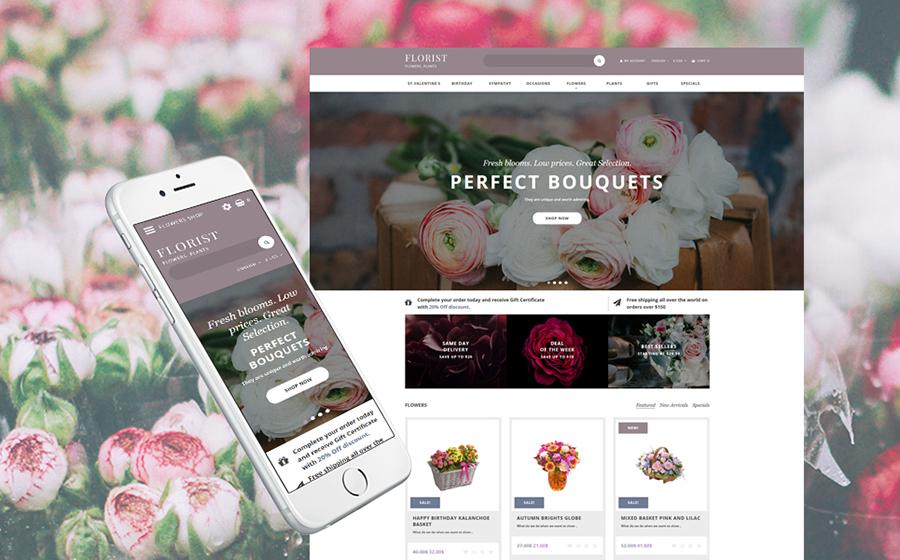 Modèle OpenCart pour magasin de fleurs