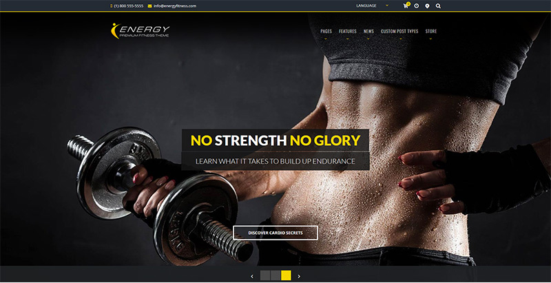 Energy themes wordpress creer site internet club fitness
