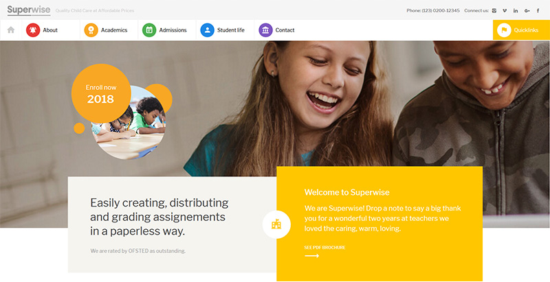 Superwise themes wordpress creer site web e learning education enseignement
