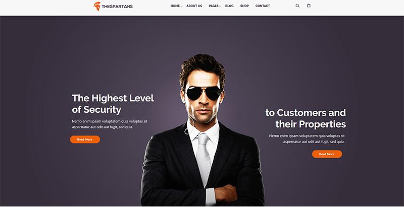 Thespartans themes wordpress creer site web entreprise securite surveillance