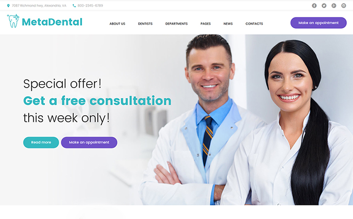 MetaDental - Theme WordPress adaptatif pour site de dentisterie privee