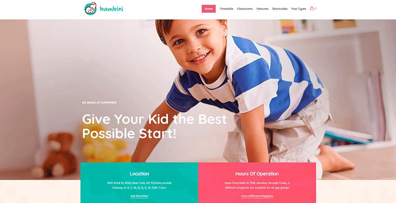 Bambini themes wordpress creer site web ecoles universites college