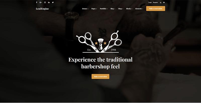 Leadengine themes wordpress creer site web salon coiffure barber hairbarber