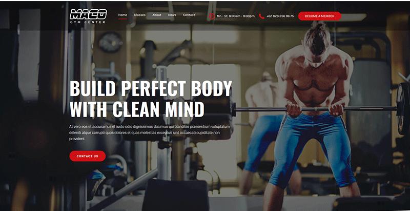 Maco themes wordpress creer site web club gym fitness yoga