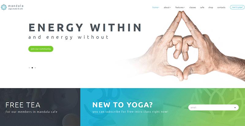 Mandala themes wordpress creer site internet club yoga