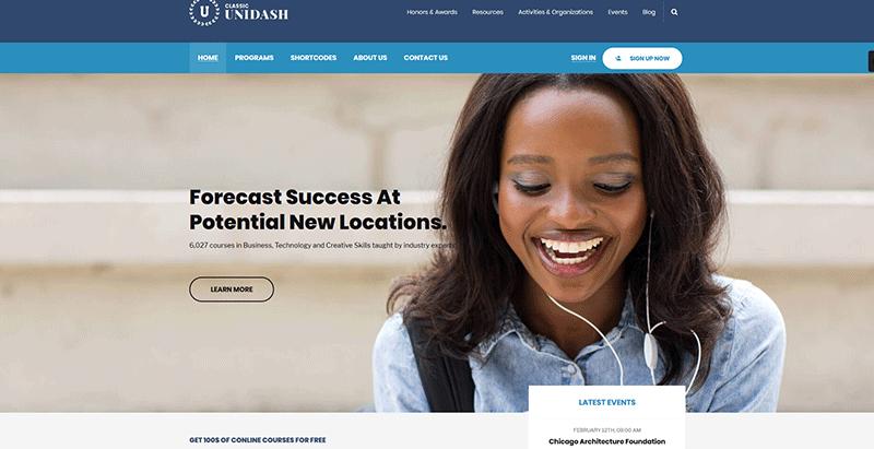 Unidash themes wordpress creer site web ecoles universites college