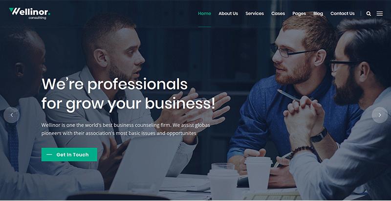 Wellinor themes wordpress creer site internet entreprise compagnie startup