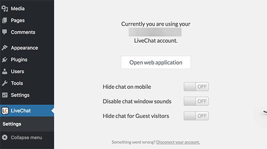 configuration du compte livechat.png