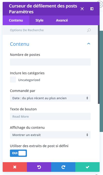 opção conteúdo curser divi module slider of articles.png