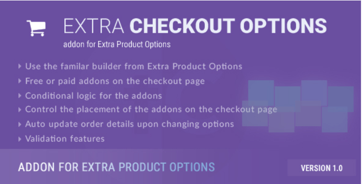 Extra checkout options addon for extra product options