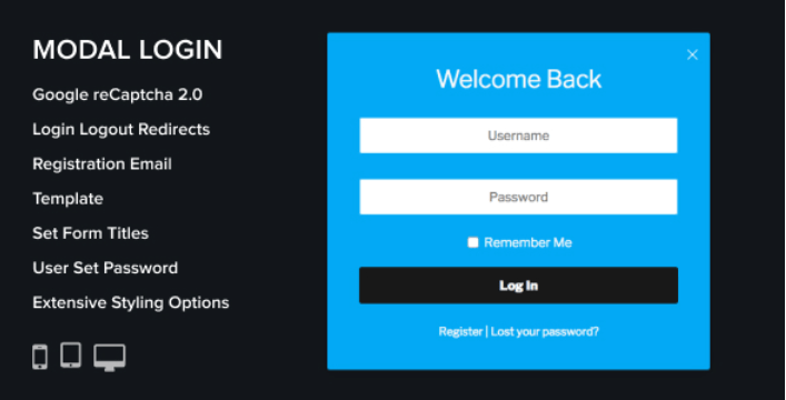 Modal login register forgotten plugins wordpress creer formulaire connexion login