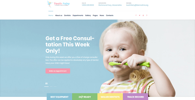 Tooth fairy themes wordpress creer site web hopital clinique dispensaire