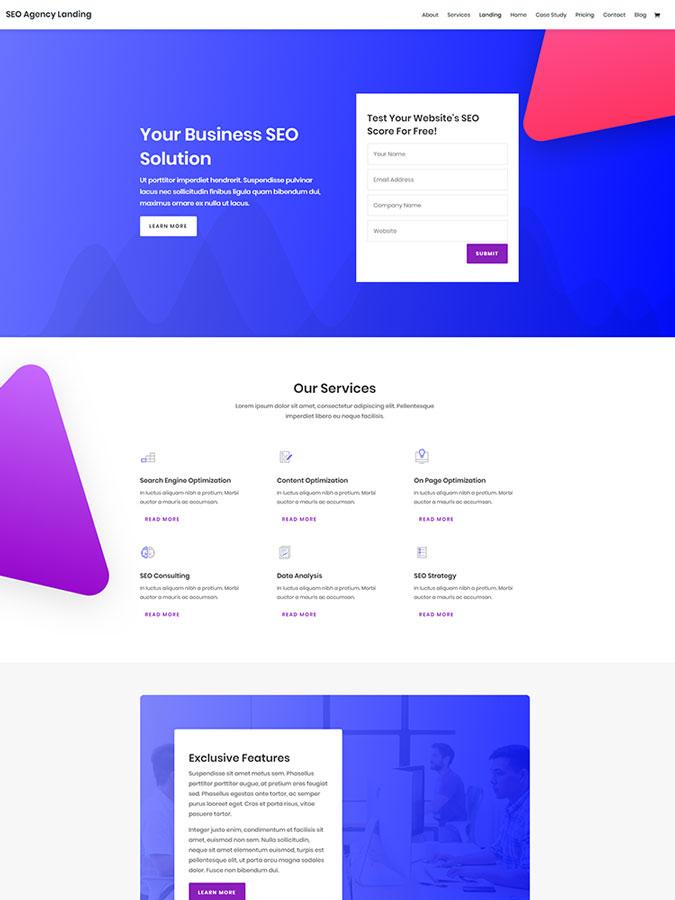 Divi wordpress theme layouts créer site agence seo référencement web
