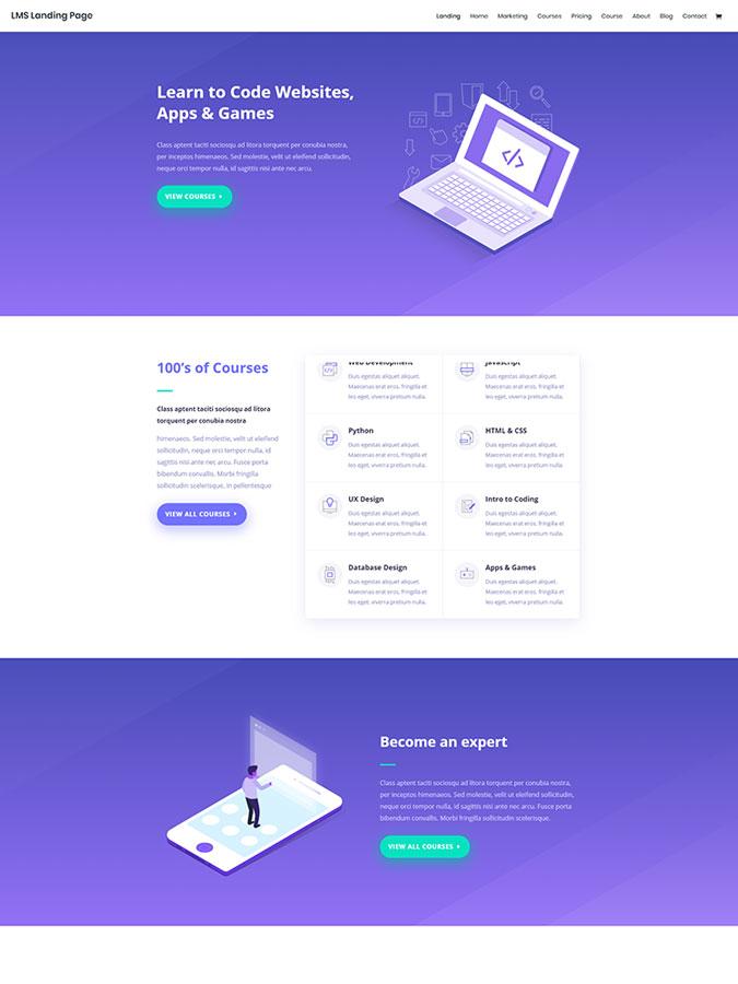 Divi wordpress theme layouts créer site web blog lms elearning vendre cours en ligne