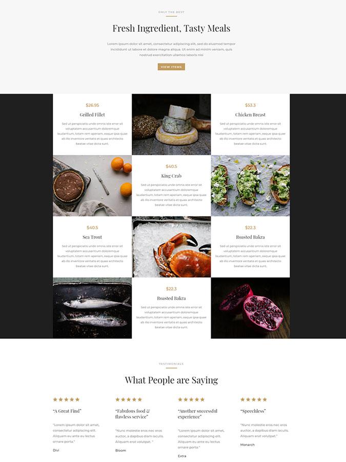 Divi wordpress theme layouts créer site web blog restaurant modèles