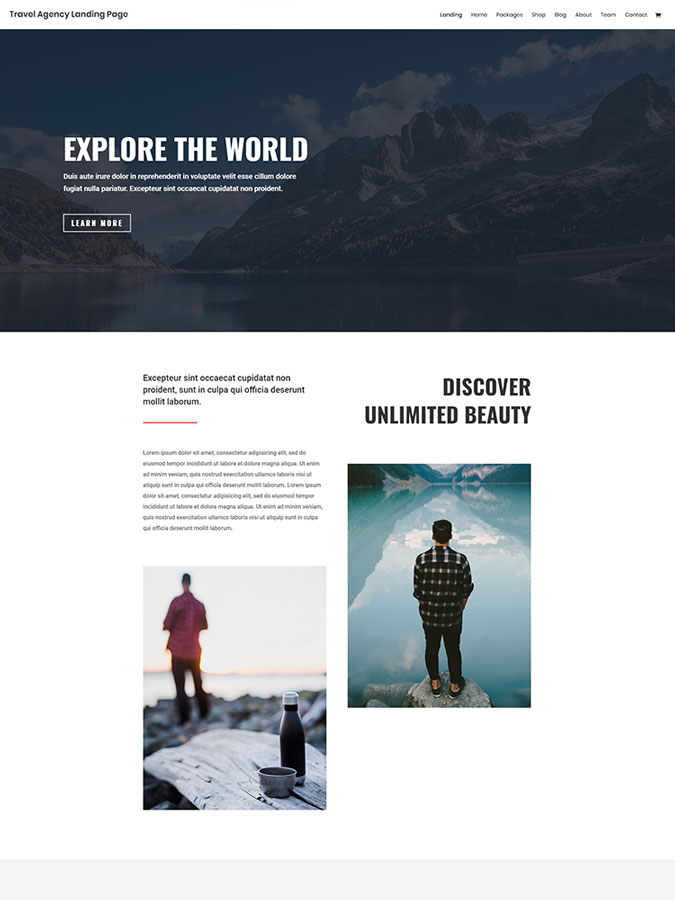 Divi wordpress theme layouts create travel agency website easyly fast