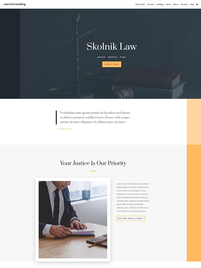 Template layout divi créer site web cabinet avocat justice lois