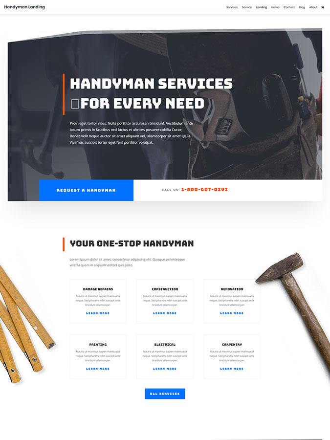 Template layout divi créer site web fait main travaux ménager handyman