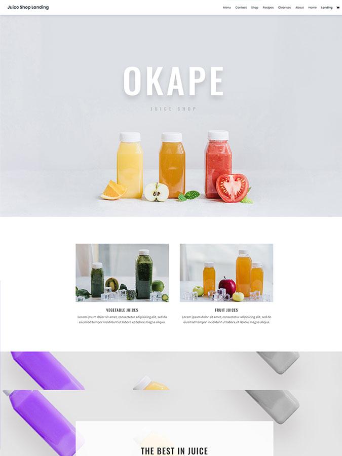 Template layout divi créer site web juice shop vendre jus boisson
