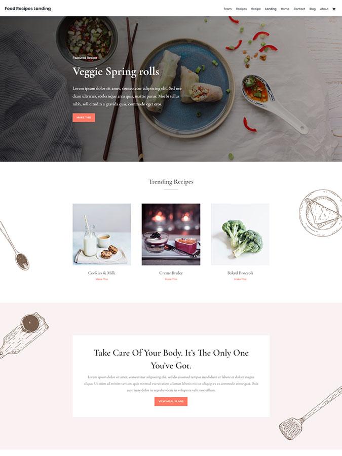 Template layout modèles divi créer site internet cuisine blog recettes cuisine