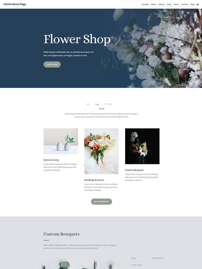 Template modèles créer site web fleuriste vendre fleurs internet