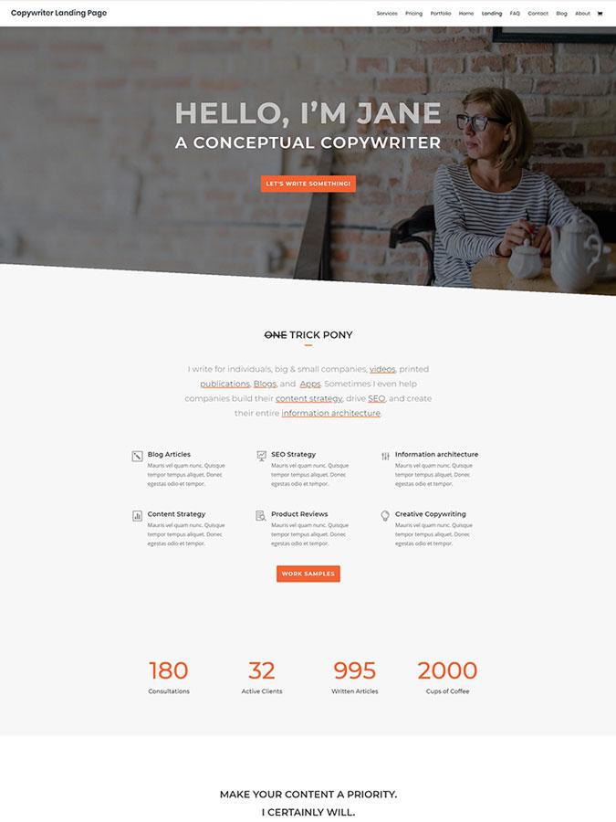 Thème wordpress divi copywriter freelance coach créer site internet