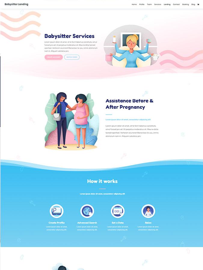 Thème wordpress divi créer site web babysitting babysitter garderie crêche enfants