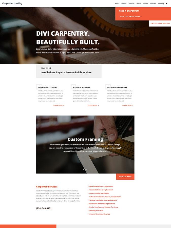 Thème wordpress divi templates charpentier artisan ménuisier créer site web layout