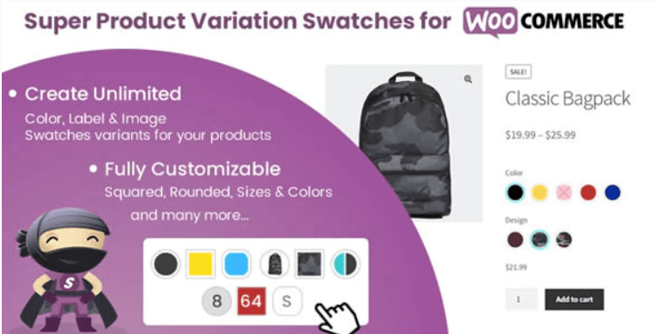 Super product variation swatches woocommerce