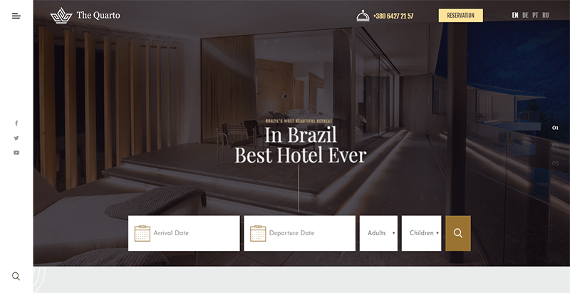 The quarto theme wordpress creer site web hotel