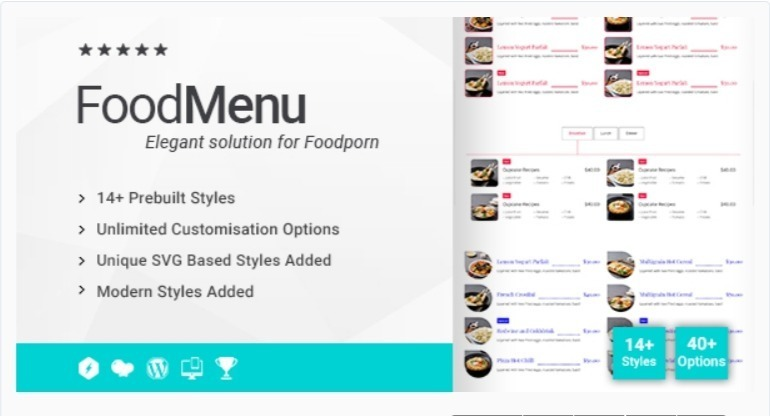 Ultimate food menu addon for wpbakery page builder