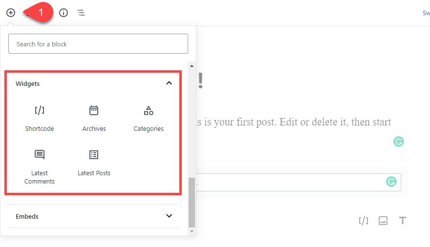Ajouter des widgets a gutenberg